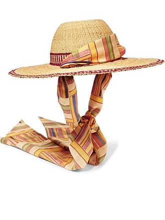 Margherita + Cambiaghi x OAfrica Silk-trimmed Printed Straw Hat - Beige