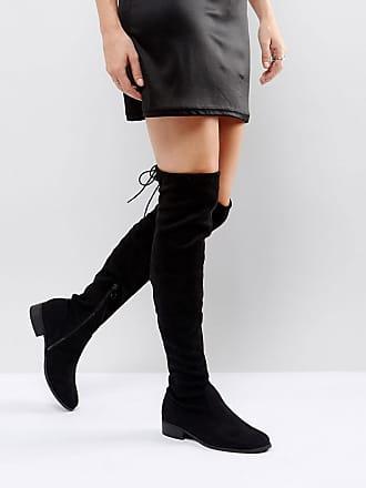 357e8e05870 Public Desire Elle black flat over the knee boot