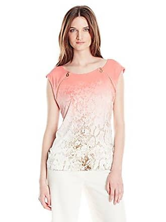 Calvin Klein Womens Sleeveless Top with Zipper Detail, Porcelain Rose Multi S