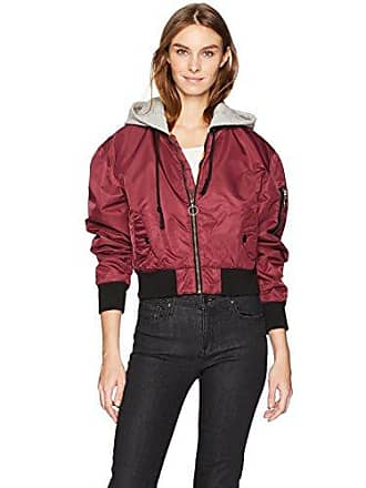 Hudson Womens Rogue Cropped Bomber with Hood, Burgundy Luster, SM
