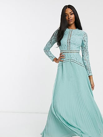 Asos lace maxi dress with trim inserts and pleated skirt-Blue