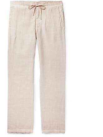 120% CASHMERE Slub Linen Drawstring Trousers - Sand
