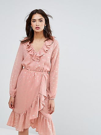 Y.A.S. Tall spot ruffle wrap midi dress in pink - Pink