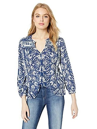 Lucky Brand Womens Peasant TOP with Trim Detail, Blue/Multi, M