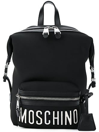 Moschino front logo sports backpack - Black
