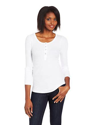 Splendid Womens Thermal Long Sleleve Henley Tee, White, X-Small