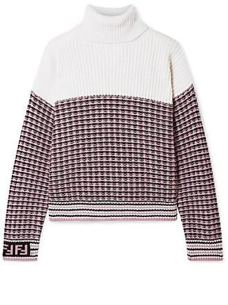 e95496014a7c78 Fendi Paneled Wool And Cashmere-blend Turtleneck Sweater - Blush