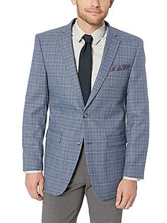 Perry Ellis Mens Slim Fit Blazer, Light Blue Plaid, 44 Regular