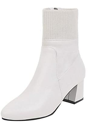 5f1217b6a828e0 UH Damen Spitze Stiefeletten Blockabsatz Ankle Boots mit Strick und Fell  Reißverschluss Warm Herbst Winter Schuhe