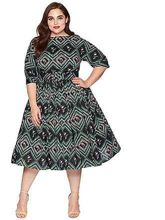 Unique Vintage Plus Size 1940s Style Sleeved Sally Swing Dress (Green  Print) Womens Dress 427d7b671