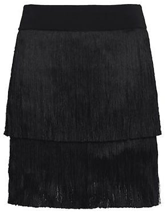 A.L.C. A.l.c. Woman Santiago Fringed Stretch-knit Mini Skirt Black Size L