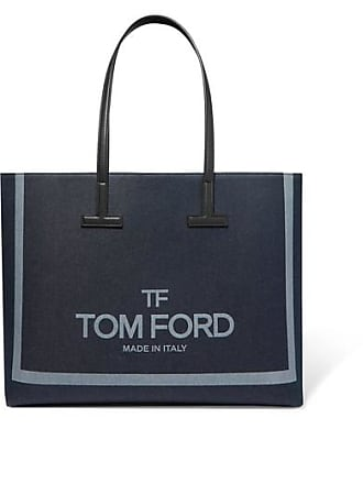 Tom Ford T Medium Leather-trimmed Printed Denim Tote - Navy