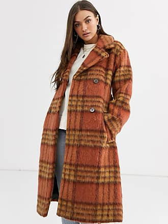 Warehouse tailored coat with belt in orange check-Multi