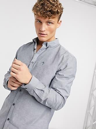 River Island long sleeve regular fit oxford shirt in grey