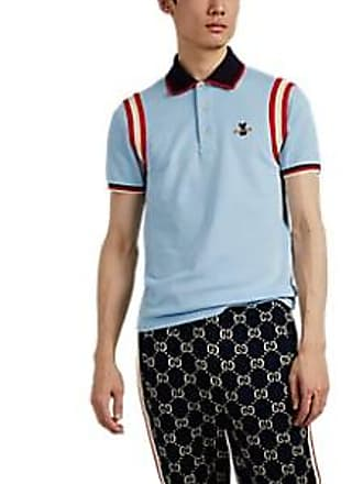 a75a85856e6 Gucci Mens Bee-Patch Cotton-Blend Piqué Polo Shirt - Blue Size L