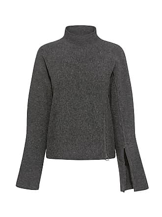 Derek Lam High Neck Bell Sleeve Slit Detail and Side Zip Sweater Charcoal