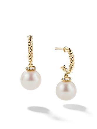 David Yurman 18kt yellow gold Solari drop pearl and diamond hoop earrings - 88Dpedi