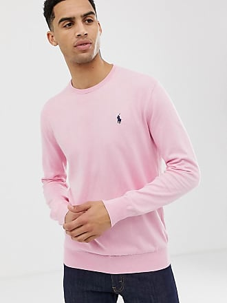 fae37787f Polo Ralph Lauren player logo pima cotton knit jumper slim fit in pink
