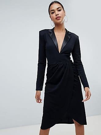 Club L Club L tuxedo wrap midi dress - Black