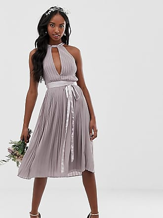 595794af5362f Tfnc Tall pleated midi bridesmaid dress with cross back and bow detail in  grey