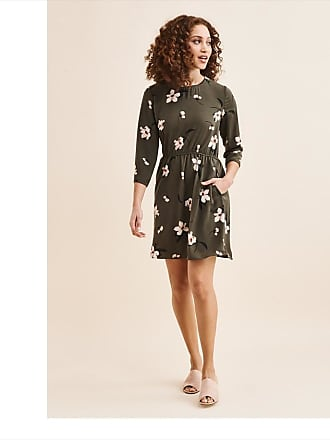 Dynamite Long Sleeve Fit & Flare Dress Green with Floral