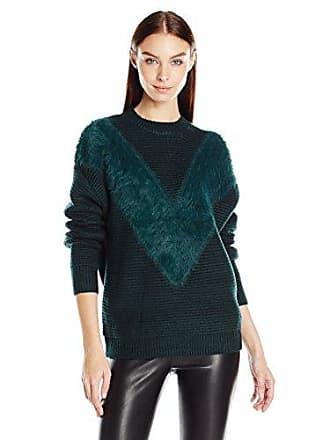 J.O.A. JOA Womens Fuzzy V Texture Sweater, Emerald, Small