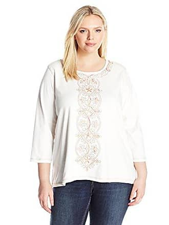 Alfred Dunner Womens Petite Center Embroidery Knit, Ivory, PS