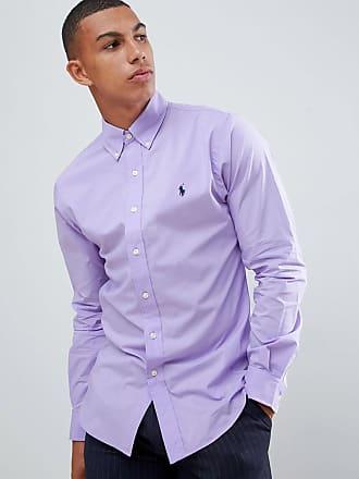 7b45fe9a632b6 Polo Ralph Lauren Camisa de popelina violeta de corte slim con botones y  logo de jugador