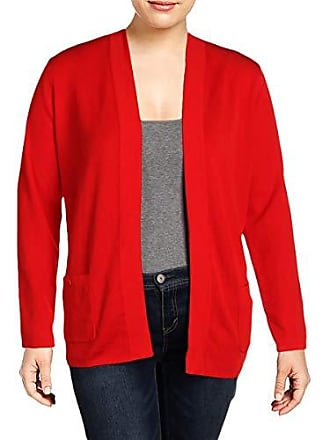 Anne Klein Womens 2 Pocket Malibu Cardigan, Tomato 2, L