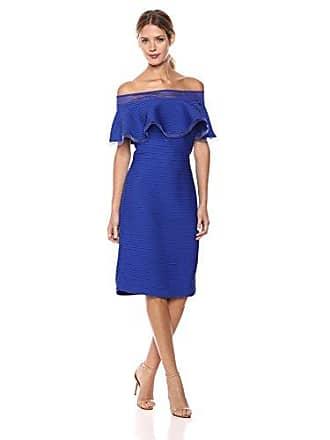 Tadashi Shoji Womens Off Shldr Pintuck Dress, Marina, XL