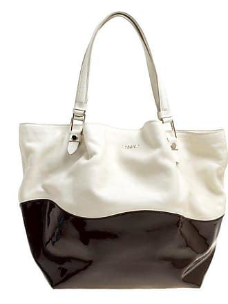 809aced23764 Tod s White brown Leather And Patent Leather Medium Flower Tote