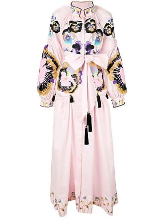 Yuliya Magdych Pansy embroidered maxi dress - Pink
