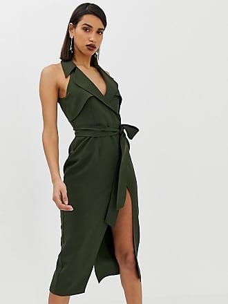 Asos Vestito stile trench midi con cintura in morbido crêpe - Verde 180eace23c6