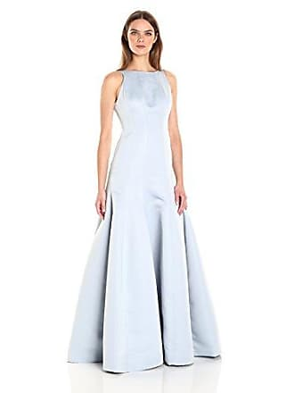 Halston Heritage Womens Sleeveless Boatneck Satin Faille Tulip Gown, Slate Grey, 0