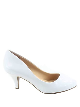 e34165de44 City Classified Carlo-s Womens Classic Comfort Round Toe Low Heel Pump  Office Shoes White