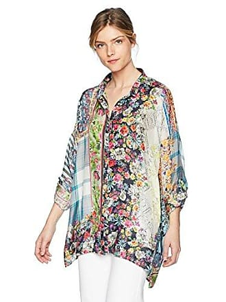 aed495348edad6 Johnny Was Womens Oversized Patterned Silk Button Up with Collar