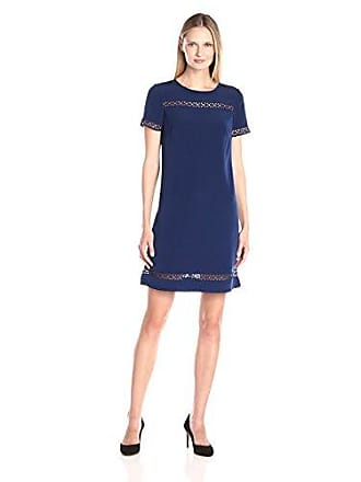 c0fd2bca Donna Ricco Womens Short Sleeve Solid Soho Crepe Shift with Lace Detail,  Navy, 6