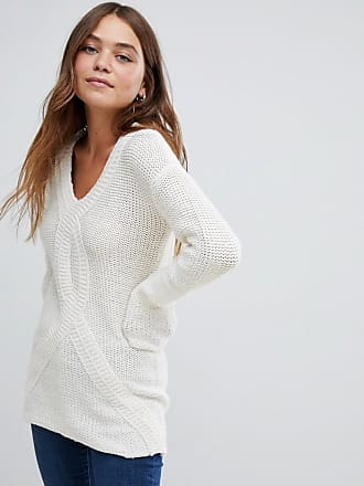 Bellfield Cable Knit V Neck Sweater - White