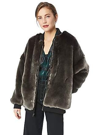Nicole Miller Womens Luxe Faux Fur Bomber Jacket, Smoke L