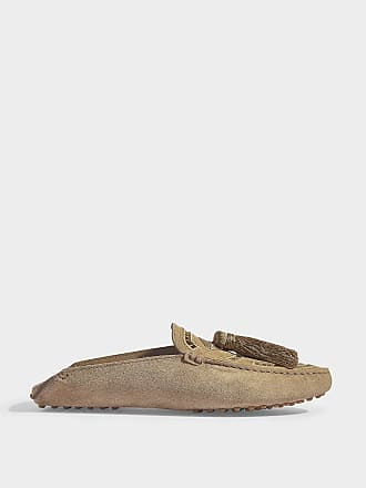 ba5148ea17f Tod s Gommino Mules with Macrame Details in Tobbaco Suede