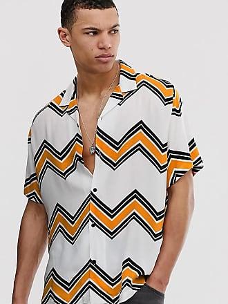 Asos Tall oversized chevron stripe revere shirt in white - White