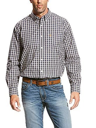 Ariat Mens Classic Fit Long Sleeve Button Down Shirt, Vahl White, MED