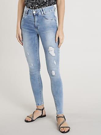 Sawary Calça Jeans Feminina Cigarrete Sawary com Puídos Azul Claro