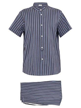 aeff1904bf Zimmerli Striped Cotton And Silk Blend Pyjama Set - Mens - Dark Blue