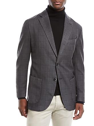 Neiman Marcus Mens Windowpane 2-Button Jacket
