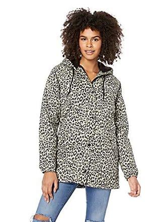 Obey Juniors Sienna Hooded Stadium Jacket, Khaki Leopard, Small