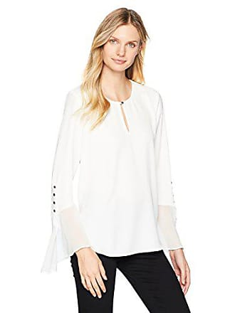 Calvin Klein Womens Asymetrical Flare Sleeve with Buttons, Soft White, S