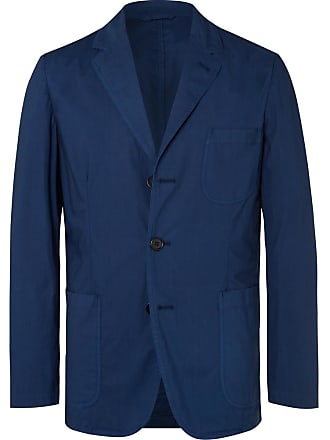 Aspesi Dark-blue Slim-fit Unstructured Garment-dyed Cotton Blazer - Blue