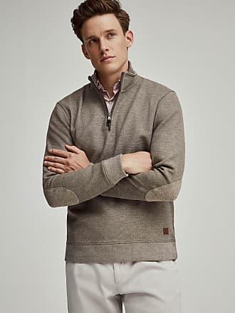 Hackett Mens Textured Cotton Jersey Half Zip Jumper | Small | Camel Beige