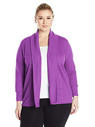 Fruit Of The Loom Fit for Me by Fruit of the Loom Womens Plus Size French Terry Cardigan, Grape Juice Cross Dye Heather, 1X